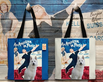 White Shepherd Art Tote Bag - An American in Paris Movie Poster   Perfect DOG LOVER Gift for Her Gift for Him
