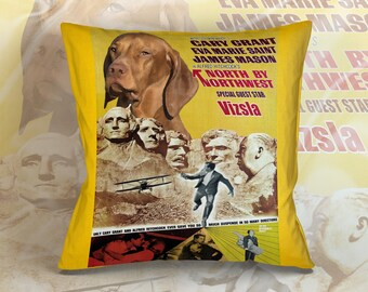 Vizsla Art Pillow    NORTH BY NORTHWEST Movie Poster  by Nobility Dogs