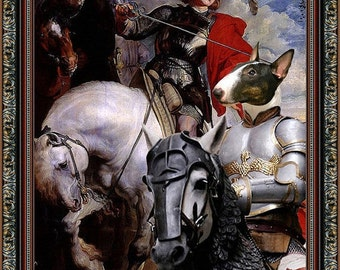 Miniature Bull Terrier Art Canvas Print Dog Lover  Gifts by Nobility Dogs