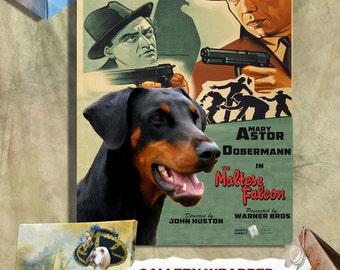 Doberman Pinscher Vintage Movie Style Poster Canvas Print  - The Maltese Falcon Movie Poster