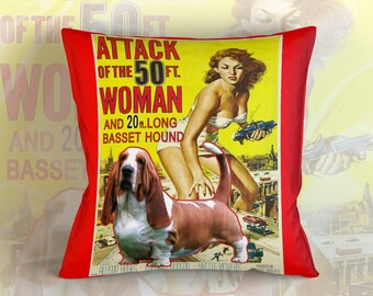 Basset Hound Art Pillow    Attack of the 50 Foot Woman Movie Poster   by Nobility Dogs