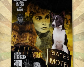 Basenji Dog Art Psycho Vintage Movie Poster Giclee Print  or Gallery wrapped Canvas ready to hang on the wall Gift for Her Gift For Him