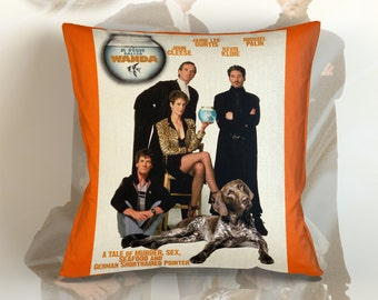 German Shorthaired Pointer Art Pillow Case   A Fish Called Wanda Movie Poster   by Nobility Dogs