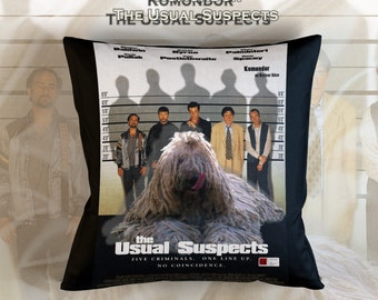 Komondor Art Pillow    The Usual Suspects Movie Poster   by Nobility Dogs