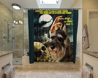 Schnauzer Art Shower Curtain, Dog Shower Curtains, Bathroom Decor - Night of the Living Dead Movie Poster