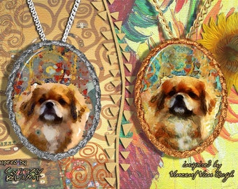 Tibetan Spaniel Jewelry Pendant   Brooch Handcrafted Porcelain by Nobility Dogs   Gustav Klimt and Van Gogh