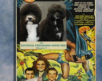 Portuguese Water Dog Vintage Movie Style Poster Canvas Print  - Batman The electrical Brain