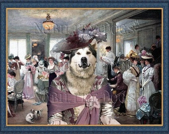 Alaskan Malamute Dog Art Canvas Print Dog Lover Gifts by Nobility Dogs