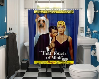 Silky Terrier Art Shower Curtain, Dog Shower Curtains, Bathroom Decor - That Touch of Mink Movie Poster
