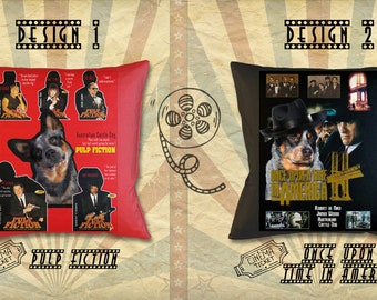 Australian Cattle Dog Art Pillow Heeler Gifts Portrait inspired by Movie Poster Pulp Fiction and Once Upon a Time in America