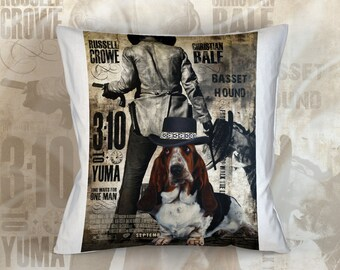 Basset Hound Art Pillow    3 10 to Yuma Movie Poster   by Nobility Dogs