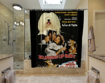 Coton de Tulear Art Shower Curtain, Dog Shower Curtains, Bathroom Decor   Bringing Up Baby Movie Poster