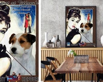 Parson Russell Terrier Art Vintage Poster Movie Style Canvas Print - Breakfast at Tiffany's