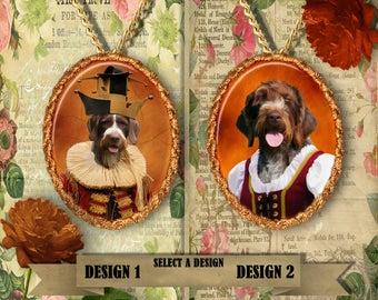 German Wirehaired Pointer  Jewelry. GWP Pendant or Brooch. GWP Necklace. GWP Portrait. Custom Dog Jewelry.Dog Handmade Jewelry