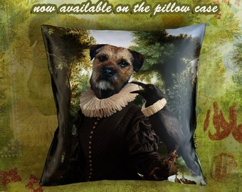 Christmas Gifts Border Terrier Pillow Portrait Dog Lover  by Nobility Dogs Arts