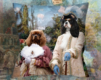 Christmas Gifts Cavalier King Charles Spaniel Art  Pillow by Nobility Dogs Art