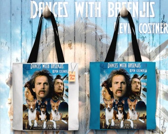 Basenji Art Tote Bag   Dances with Wolves Movie Poster by Nobility Dogs