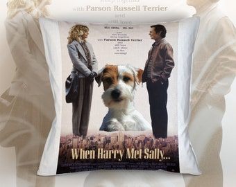 Parson Russell Terrier Art Pillow    When Harry Met Sally Movie Poster   by Nobility Dogs