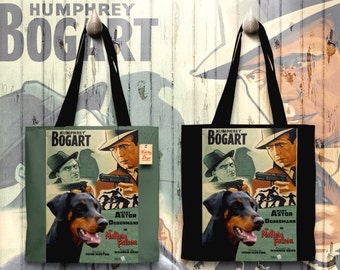 Doberman Pinscher Art Tote Bag - The Maltese Falcon Movie Poster   Perfect DOG LOVER Gift for Her Gift for Him