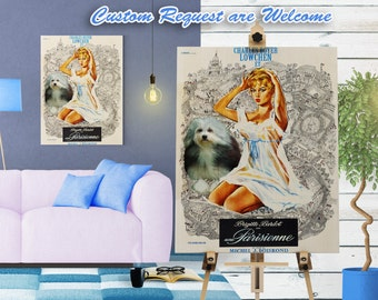 Lowchen Print Fine Art Canvas - Une Parisienne Movie Poster   Perfect DOG LOVER GIFT Gift for Her Gift for Him Home Decor