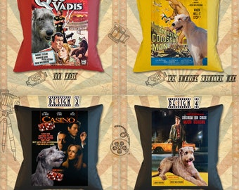Irish Wolfhound Art Pillow Dog Gifts inspired by Movie Poster by Nobility Dogs by Nobility Dogs