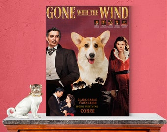 Welsh Corgi Dog Art Gone with the Wind Vintage Movie Poster Giclee Print or Gallery wrapped Canvas ready to hang on the wall