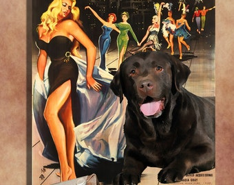 Labrador Retriever Vintage Movie Style Poster Canvas Print