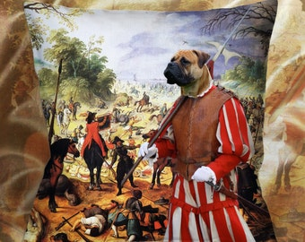 Christmas Gifts Bullmastiff Pillow Portrait Dog Lover  by Nobility Dogs Arts
