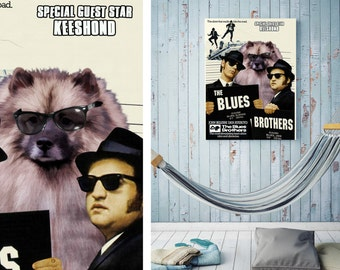 The Blues Brothers snl Keeshond Art Movie Poster Wall Art Keeshond Dog Custom Dog Portrait from Photo Movie Quote john belushi Nobility Dogs