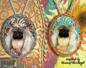 Pekingese Jewelry Pendant - Brooch Handcrafted Porcelain by Nobility Dogs - Gustav Klimt and Van Gogh