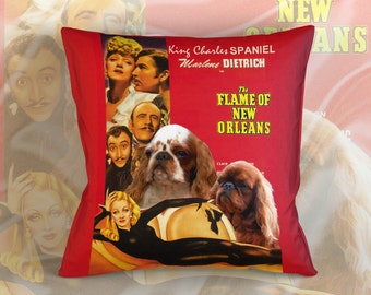 English Toy Spaniel Art Pillow    The Flame of New Orleans Movie Poster   by Nobility Dogs