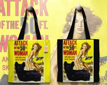 Skye Terrier Art Tote Bag   Attack of the 50 Foot Woman Movie Poster by Nobility Dogs