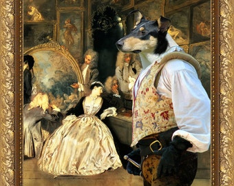 Smooth Collie Art Canvas Print Dog Lover  Gifts by Nobility Dogs