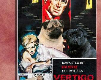 Pug Vintage Art Poster Canvas Print  - Vertigo Movie Poster  Perfect DOG LOVER GIFT Gift for Her Gift for Him Home Decor