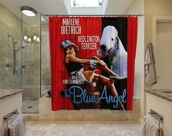 Bedlington Terrier Art Shower Curtain, Dog Shower Curtains, Bathroom Decor - The Blue Angel Movie Poster