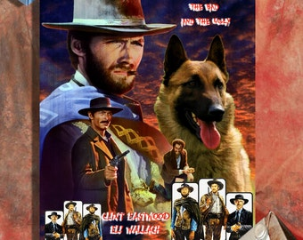 Belgian Malinois Art The Good, the Bad and the Ugly Movie Poster Canvas Print Dog Lover Gifts by Nobility Dogs