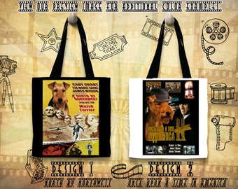 Welsh Terrier Gifts Tote Bag Welsh Terrier Dog Portrait inspired by Movie Poster North By Northwest and Once Upon a Time in America