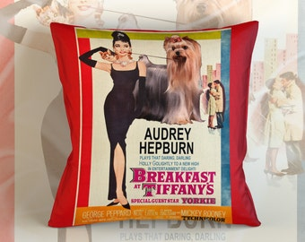 Yorkshire Terrier Art Pillow    Breakfast at Tiffany's Movie Poster   by Nobility Dogs