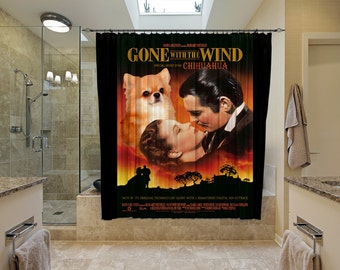 Chihuahua Art Shower Curtain, Dog Shower Curtains, Bathroom Decor - Gone with the Wind Movie Poster