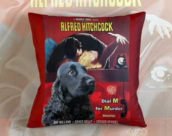 English Cocker Spaniel Art Pillow    Dial M for Murder Movie Poster   by Nobility Dogs