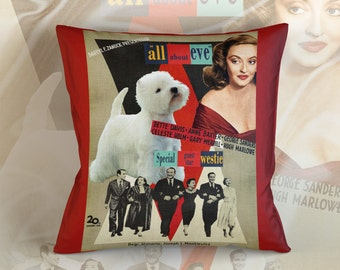 West Highland White Terrier Art Pillow    All About Eve Movie Poster   by Nobility Dogs