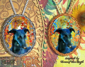 Spanish Greyhound Galgo Jewelry Pendant - Brooch Handcrafted Porcelain by Nobility Dogs - Gustav Klimt and Van Gogh