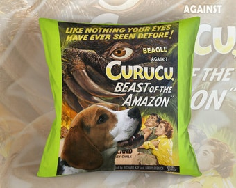Beagle Art Pillow    Curucu, Beast of the Amazon Movie Poster   by Nobility Dogs