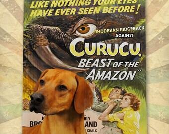 Rhodesian Ridgeback Art Curucu Vintage Movie Poster by Nobility Dogs