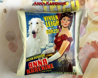 Borzoi Art Pillow    Anna Karenina Movie Poster   by Nobility Dogs