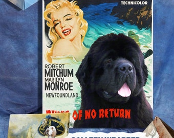 River of No Return Newfoundland Art Marilyn Monroe Movie Poster Wall Art Newfie Dog Custom Portrait from Photo Movie Quote Nobility Dogs