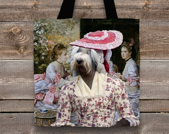 Old English Sheepdog Art Tote Bag   Perfect DOG LOVER Gift for Her Gift for Him