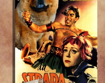 Chow Chow Dog Art La Strada Movie Poster Print, Vintage Collage Art on Canvas, Dog Gifts by Nobility Dogs