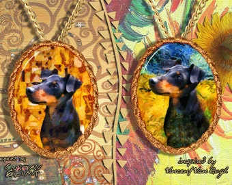 Manchester Terrier Jewelry Pendant - Brooch Handcrafted Porcelain by Nobility Dogs - Gustav Klimt and Van Gogh