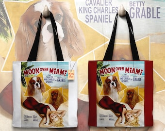Cavalier King Charles Spaniel Art Tote Bag   Moon Over Miami Movie Poster by Nobility Dogs